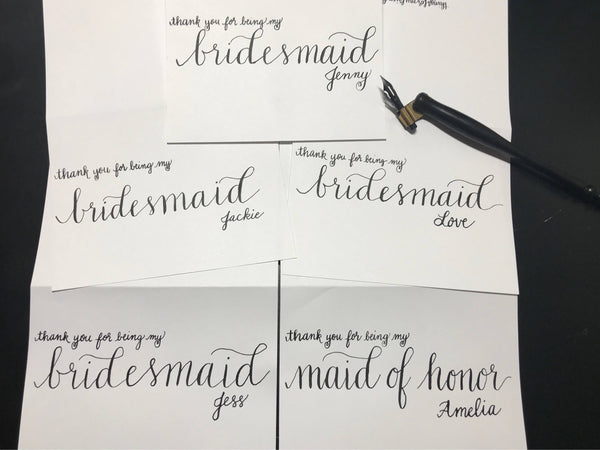Personalized Thank You Cards for Bridesmaids