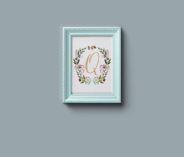Initial Print with Floral Wreath- Digital Download