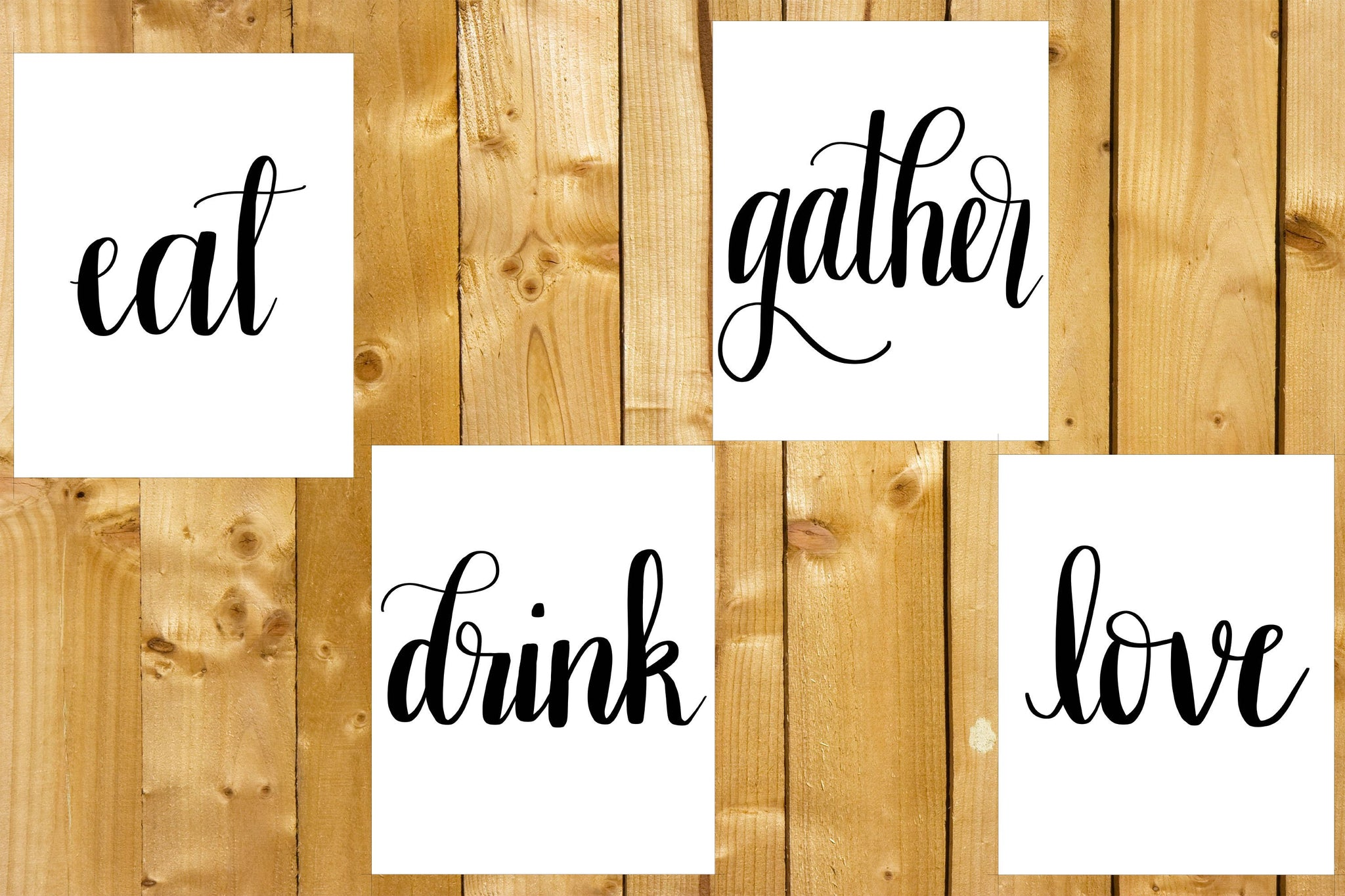 Hand Lettered Prints- Digital Download, Set of 8