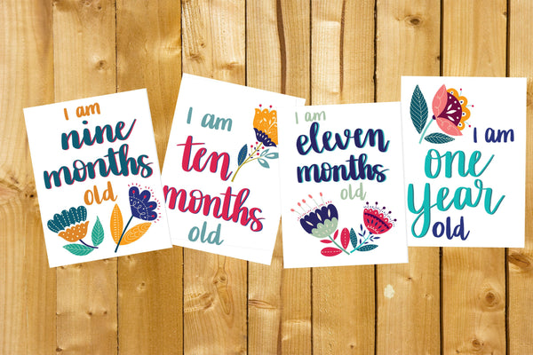 Baby Milestone Cards- Floral