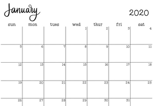 2020 Monthly Calendar-Printable