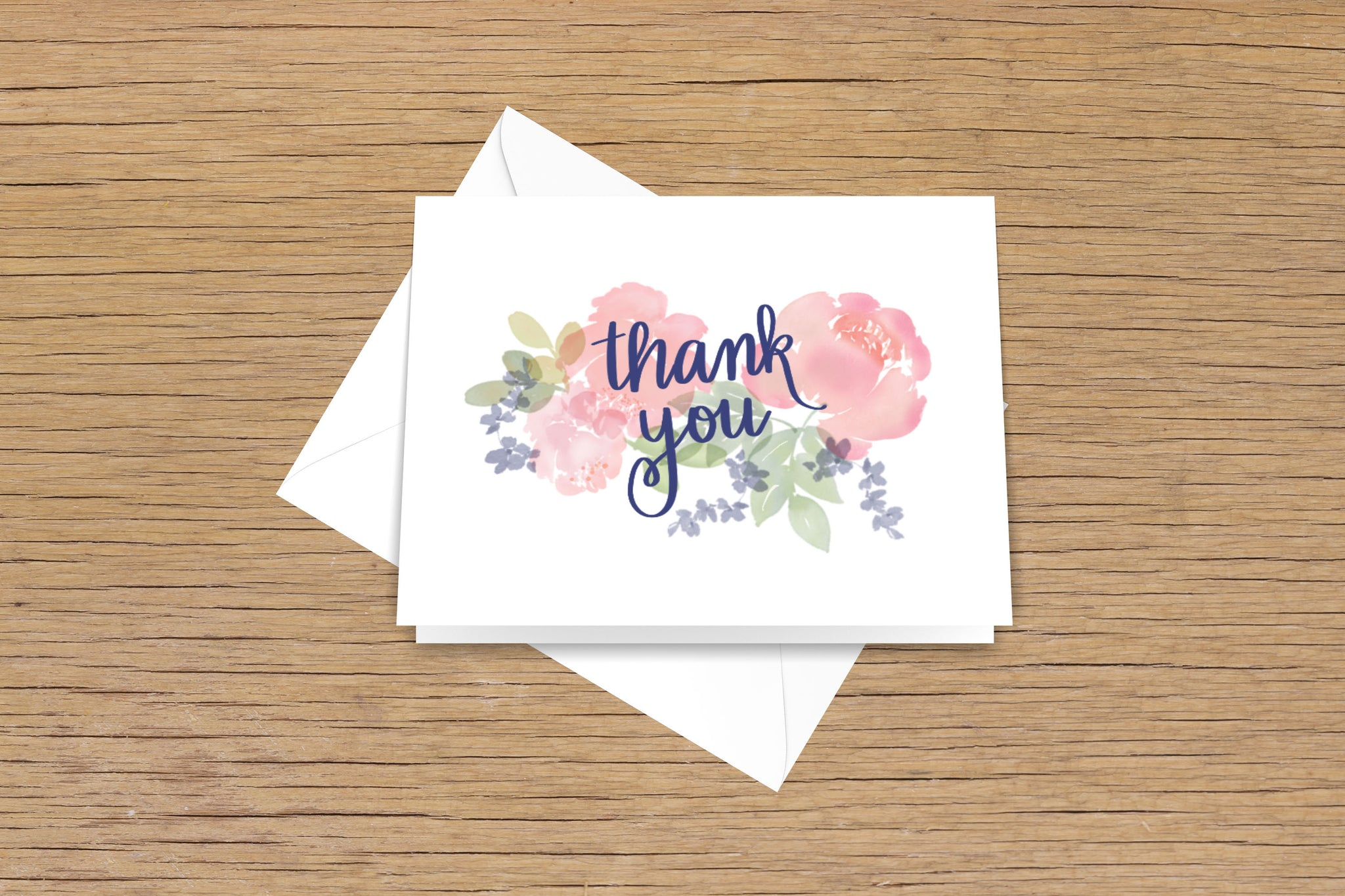 Thank You with Watercolor Florals