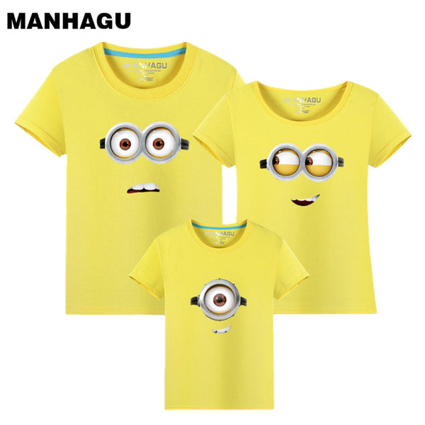 MANHAGU Brand 1piece Family Matching Outfits Minions T Shirts mother & kids T-shirt Family Clothing Mother Daughter father son 1