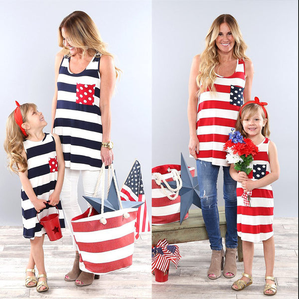 Matching Family Clothing Fashion New Mother Daughter Striped Vest Dresses Summer T-shirt Girls Dress Casual Family Kids Clothes