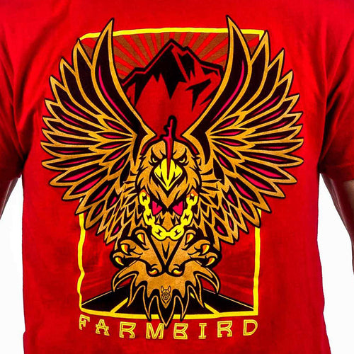 Red Farmbird Tshirt farmtruck and azn brand