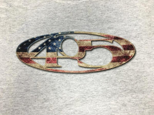 405 red white blue american flag t-shirt