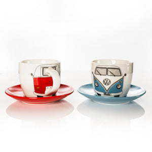 VW Bus 2-Piece Espresso Cup Set with Saucers