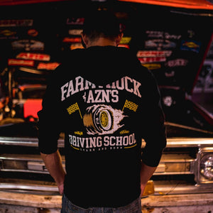 farmtruck and azn streetoutlaws driving school hoodie zipup pullover learnandburn