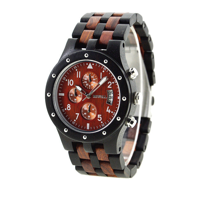 BEWELL Wood Luxury Designer Watch with Chronograph Calendar Date - androidsmartgear