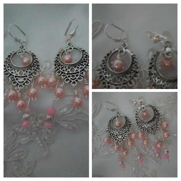 Antique Silver Filigree Earrings choice of pearl color