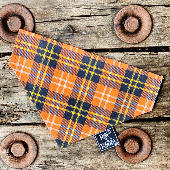 Ruff & Reggie - Orange Plaid Slip on Bandana