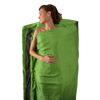 Premium Silk Travel Sleeping Bag Liner _ green _ rectangle