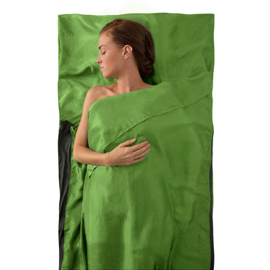 Premium Silk Travel Sleeping Bag Liner _ green _ traveller with pillow
