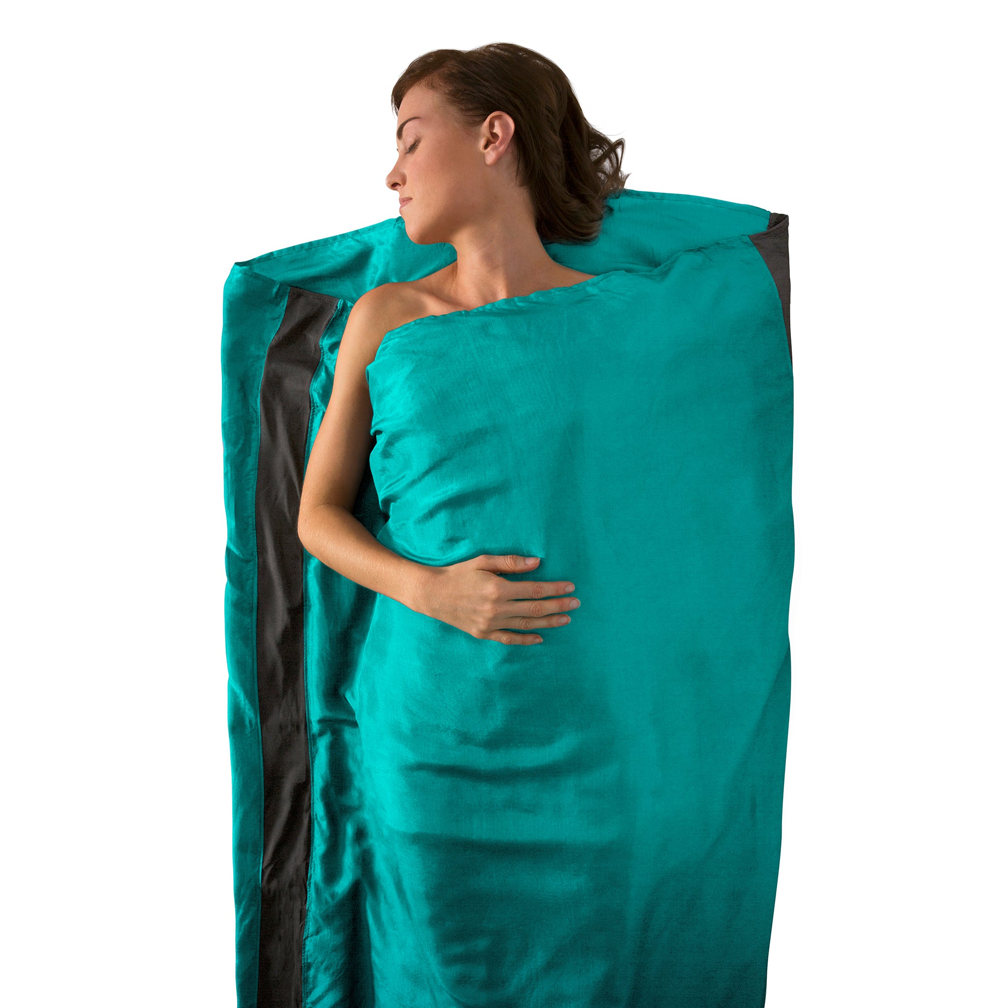 Premium Silk Travel Sleeping Bag Liner _ sea foam _ rectangle
