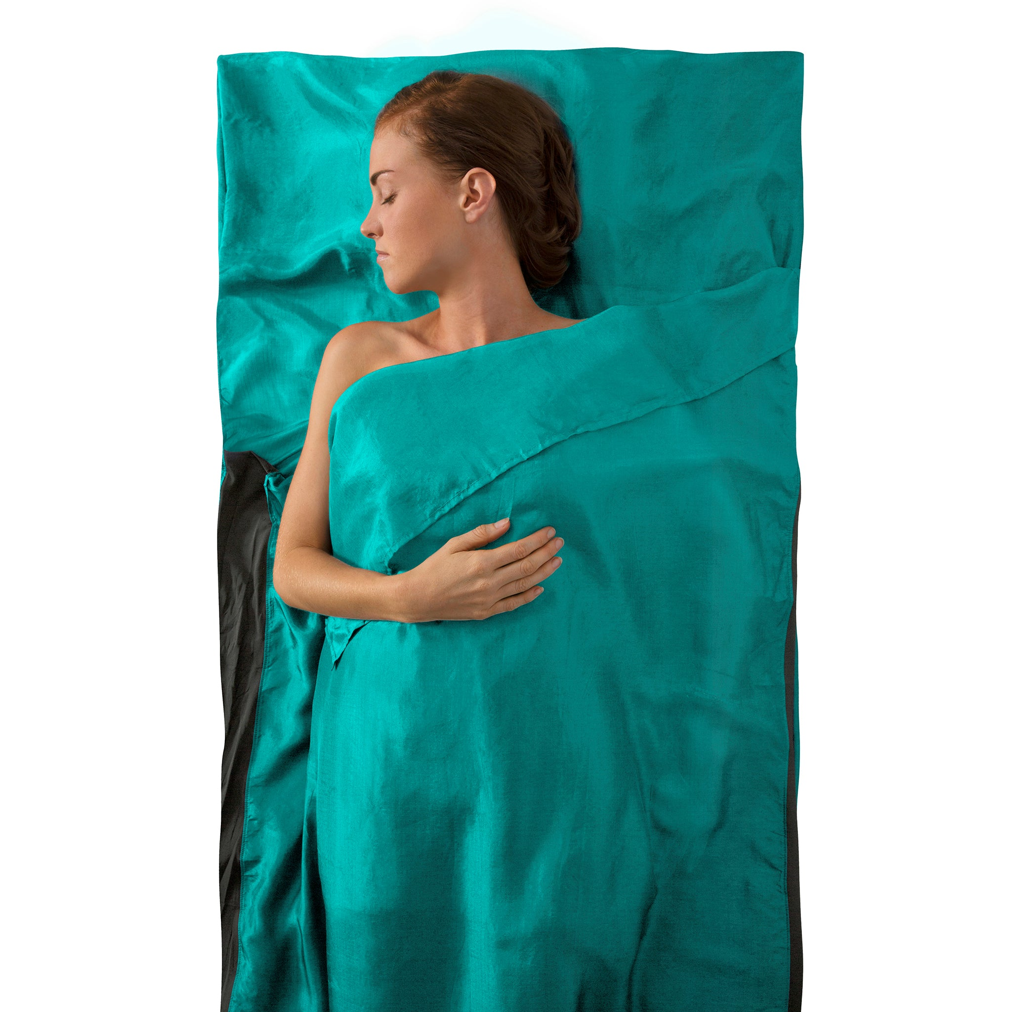 Premium Silk Travel Sleeping Bag Liner _ sea foam _ traveller with pillow