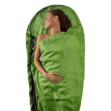 Premium Silk Travel Sleeping Bag Liner _ green _ mummy
