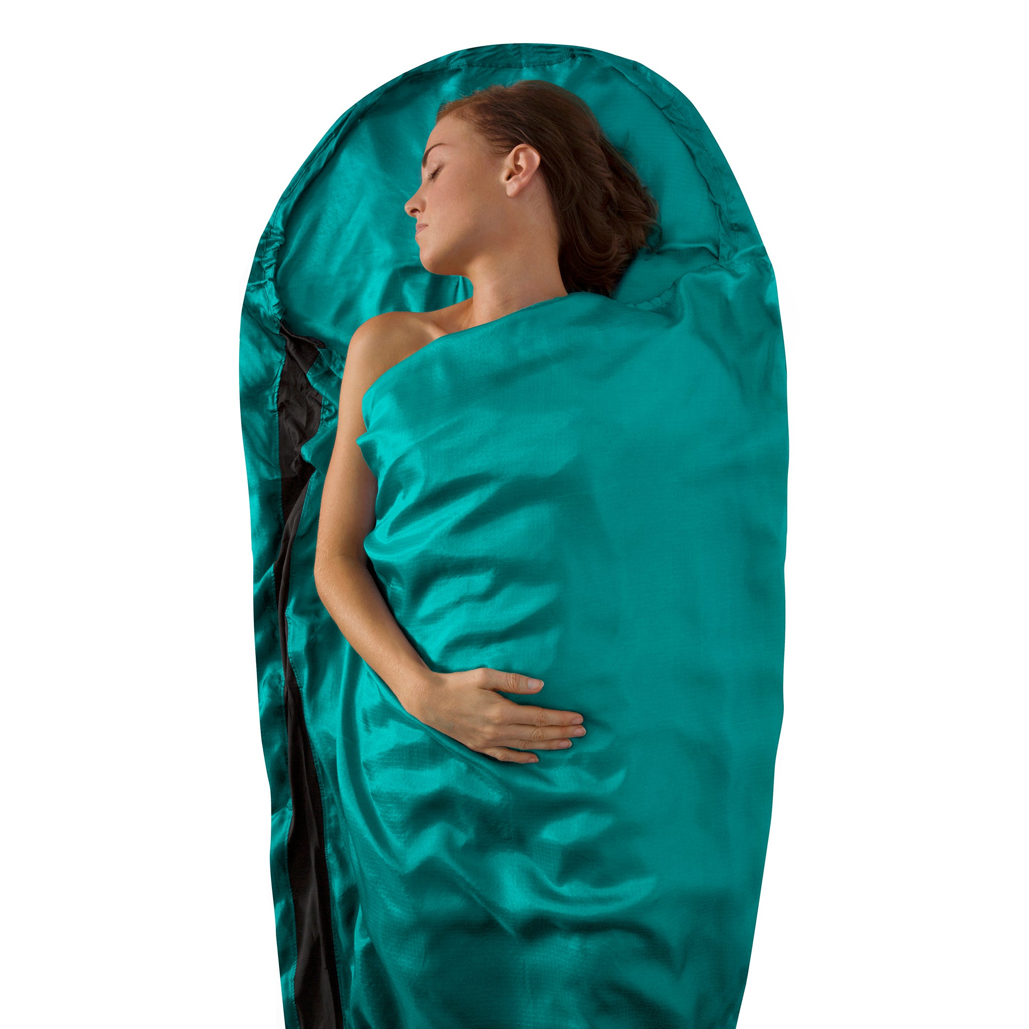 Premium Silk Travel Sleeping Bag Liner _ sea foam _ mummy