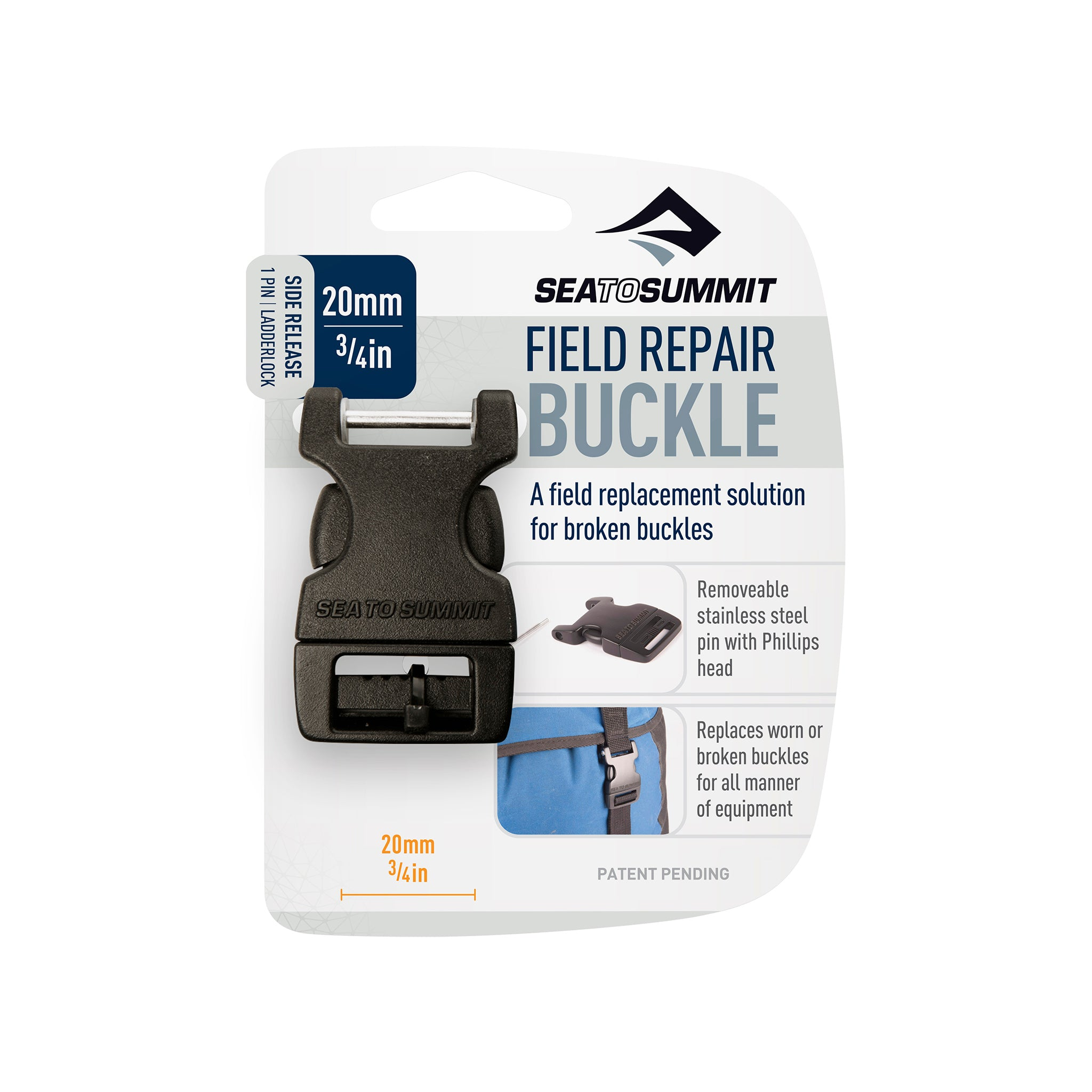 Field Repair Buckle _ Side Release _ 1 Pin for replacement parts _ 20 mm