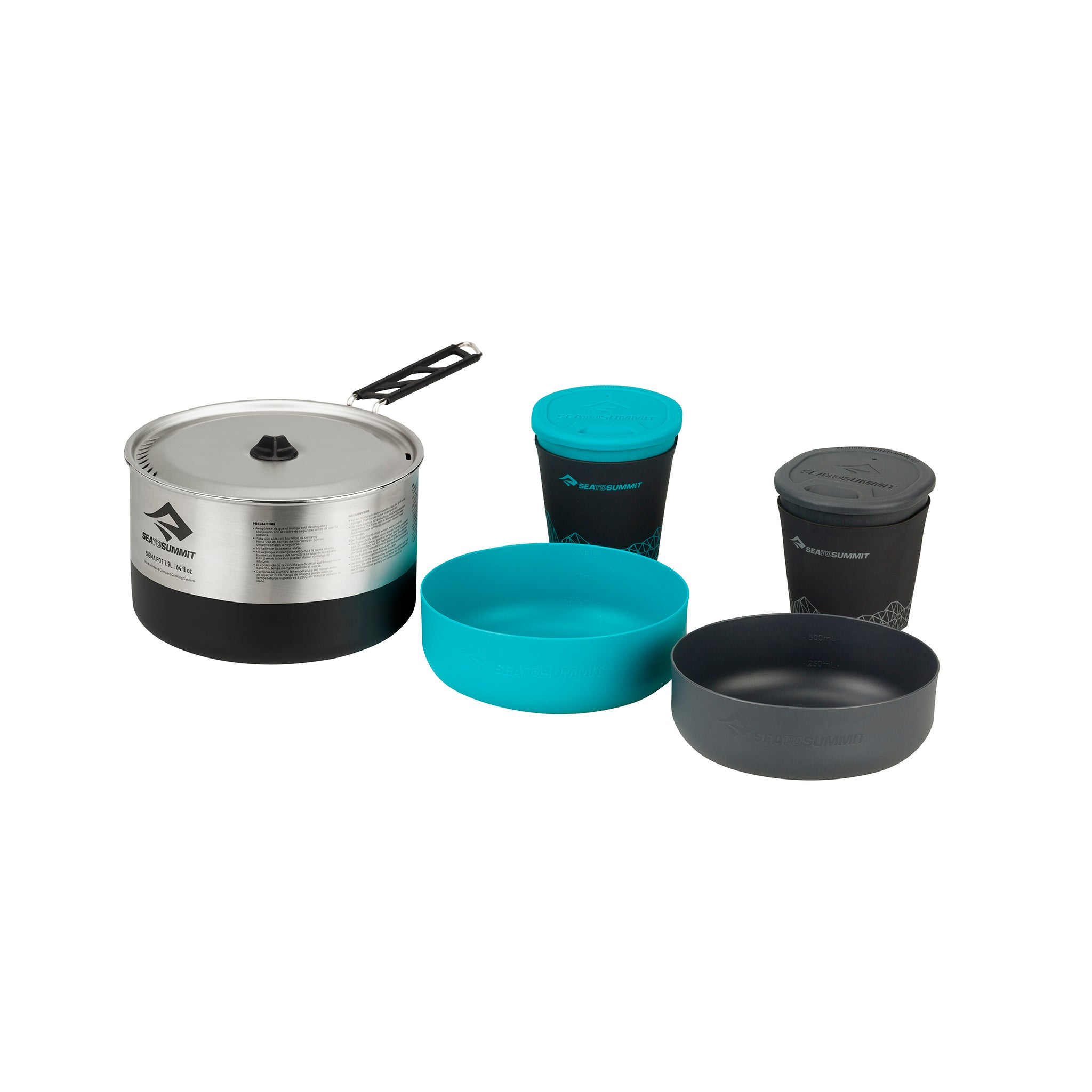 Sigma Stainless Camping Cookware Set _ 1 pot, 2 bowls & 2 mugs