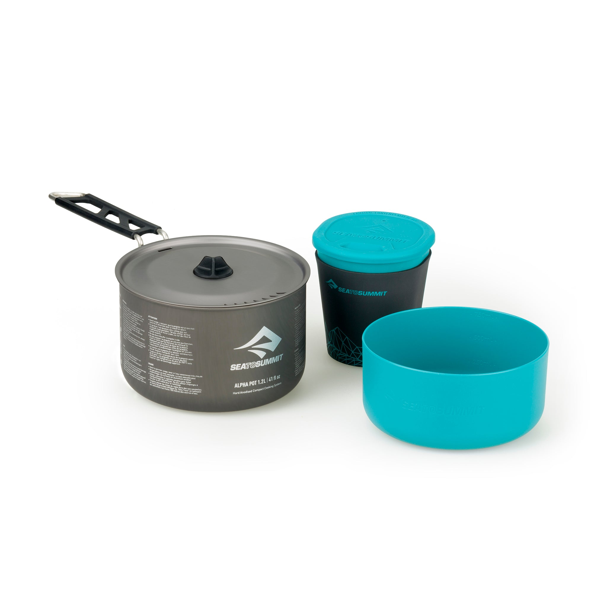 Alpha Cook Set 1.1 - 1.2L pot, 1 bowl, 1 cups _ lightweight backpacking cook set _ pot bowl cup _ one person
