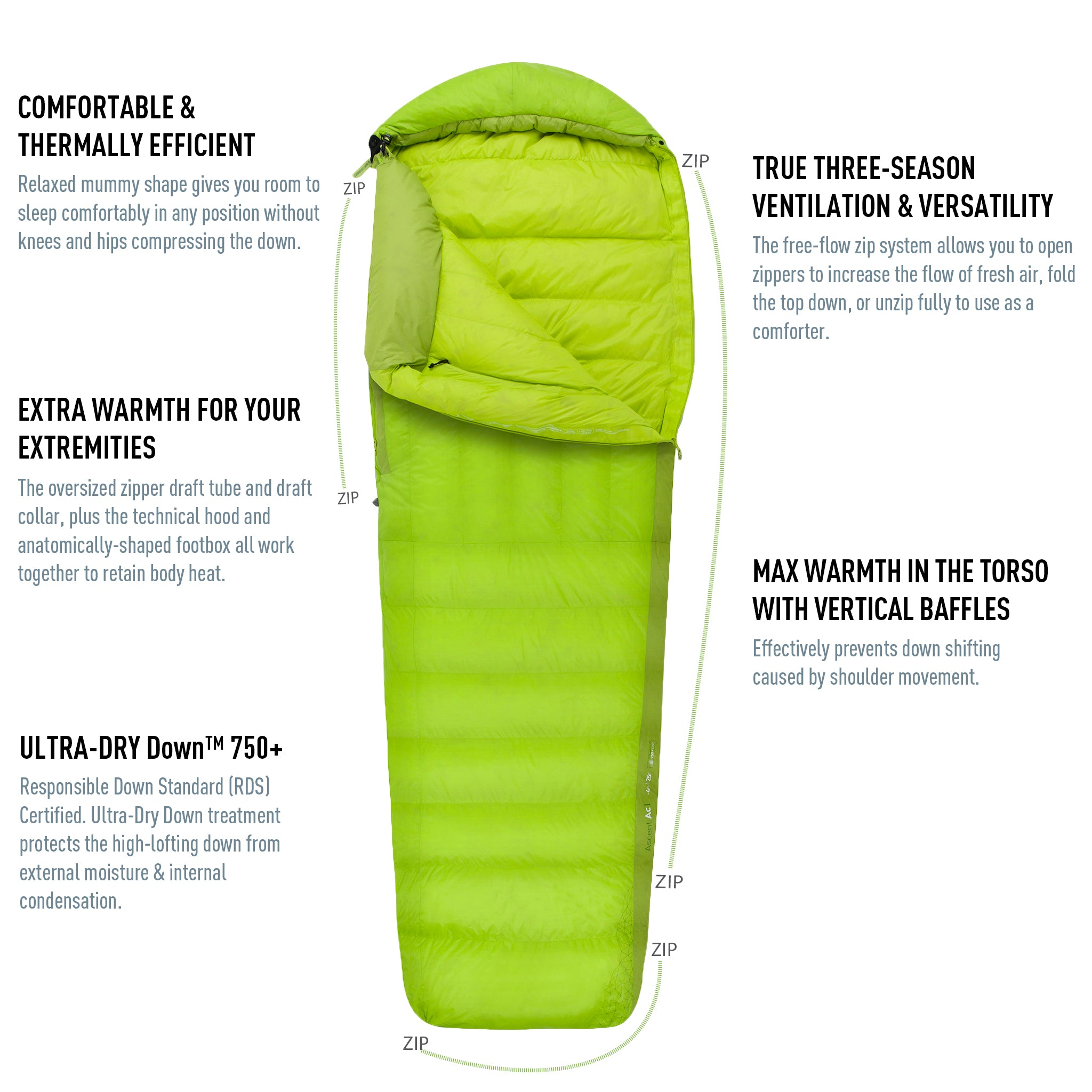 Ascent Down Mummy Sleeping Bag