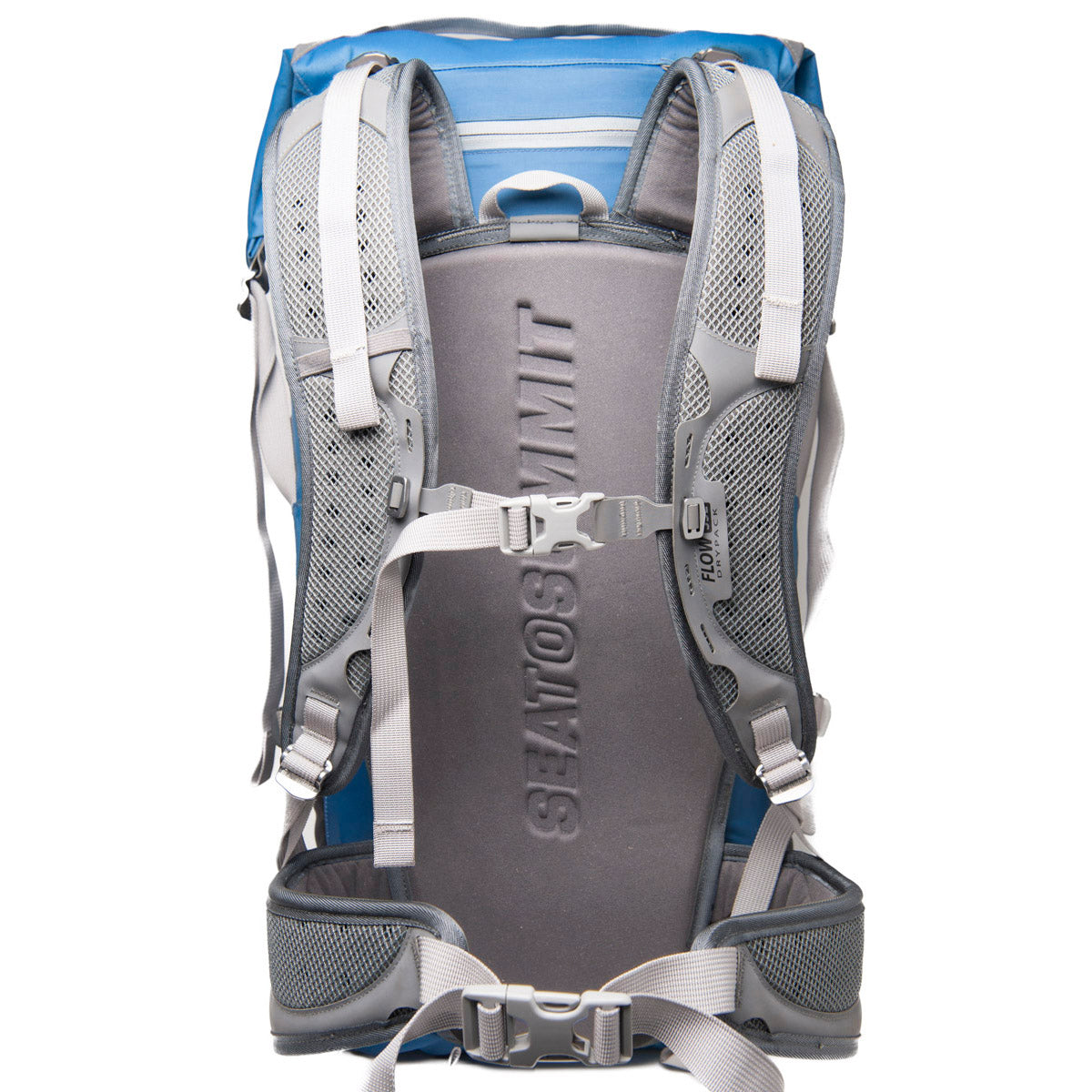 Flow 35L Drypack _ dry bag backpack _ blue _ straps