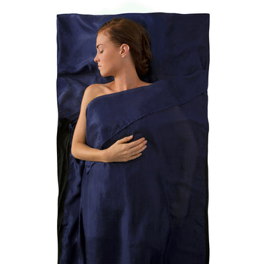 Premium Silk Travel Sleeping Bag Liner _ navy blue _ traveller with pillow