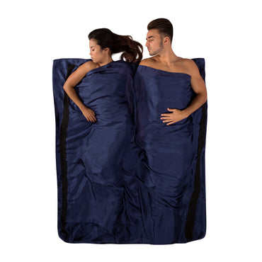 Premium Silk Travel Sleeping Bag Liner _ navy blue _ double