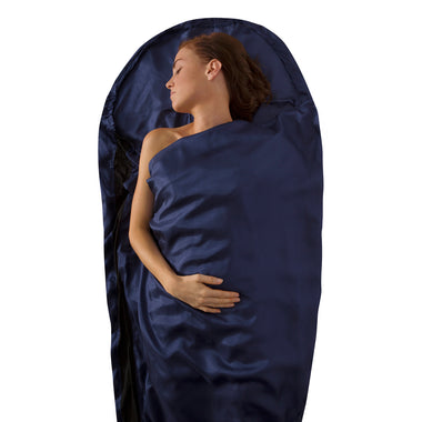 Premium Silk Travel Sleeping Bag Liner _ blue _ mummy