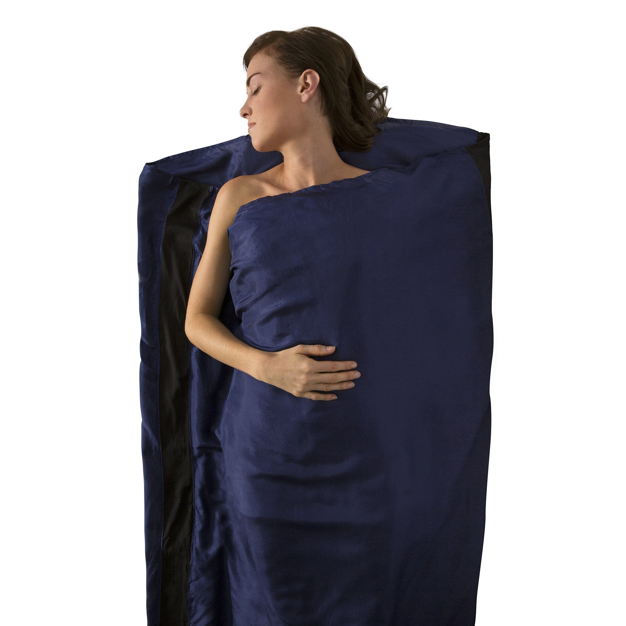 Premium Silk Travel Sleeping Bag Liner _ blue _ long rectangle