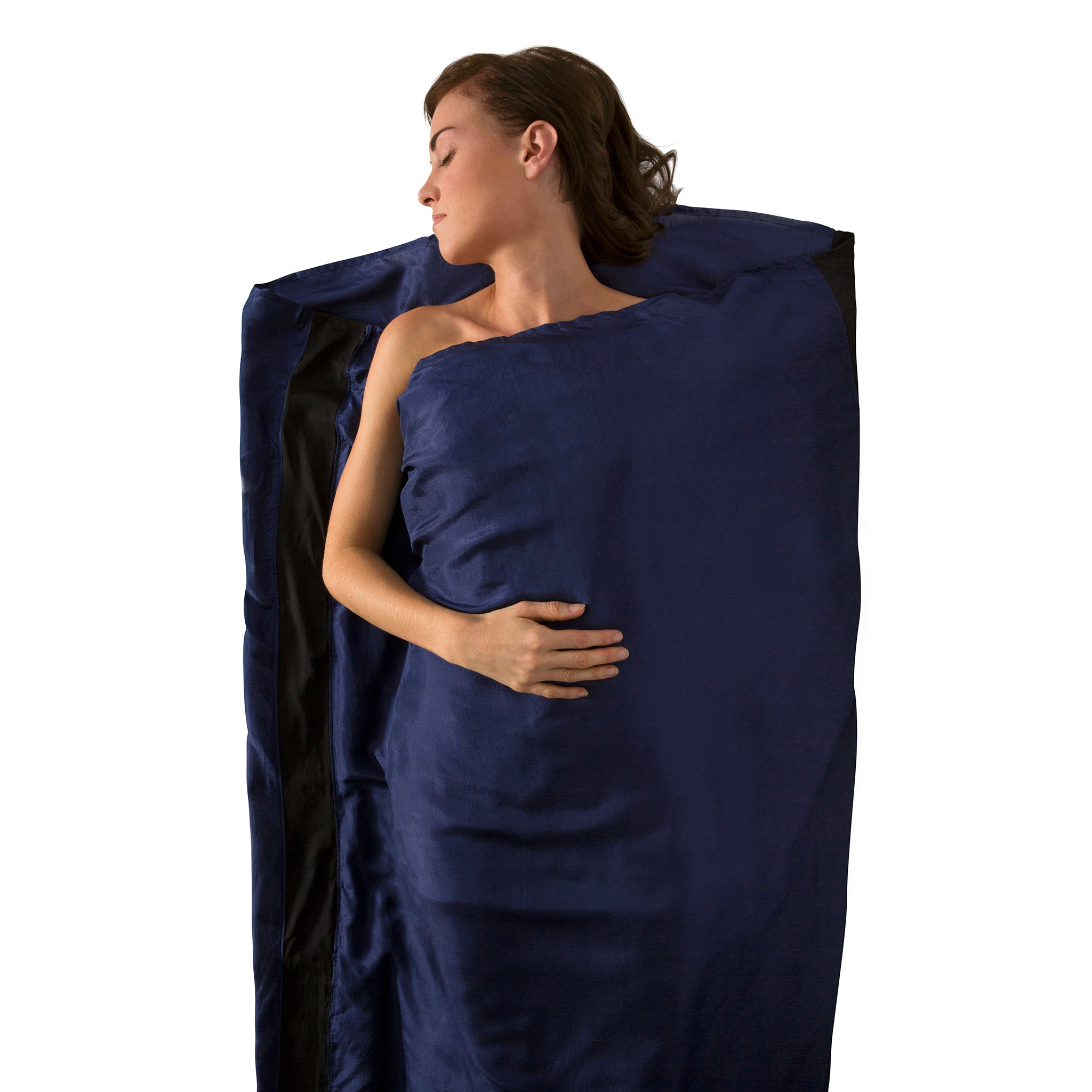 Premium Silk Travel Sleeping Bag Liner _ navy blue _ standard rectangular