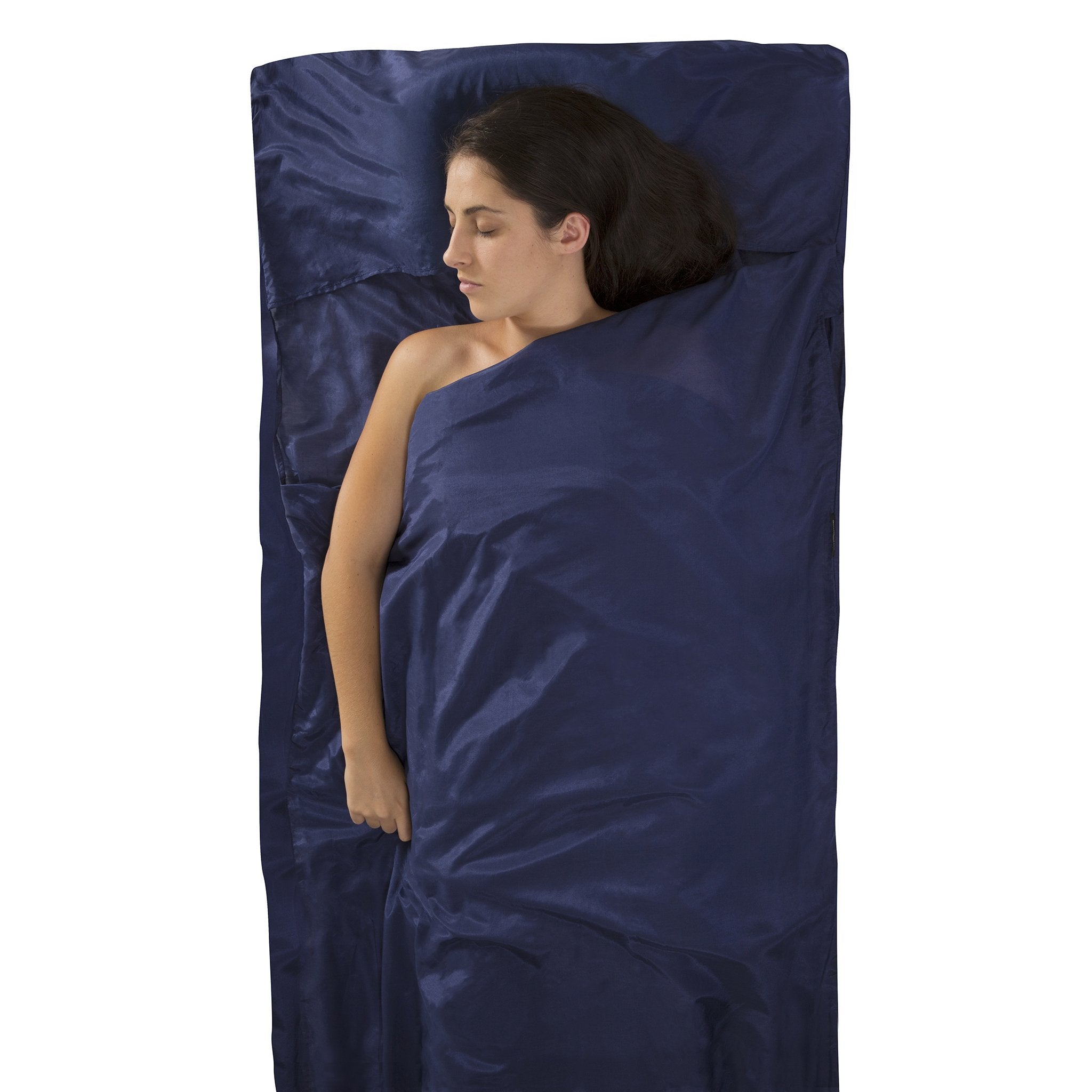 Silk-Cotton Blend Travel Sleeping Bag Liner _ traveller with pillow