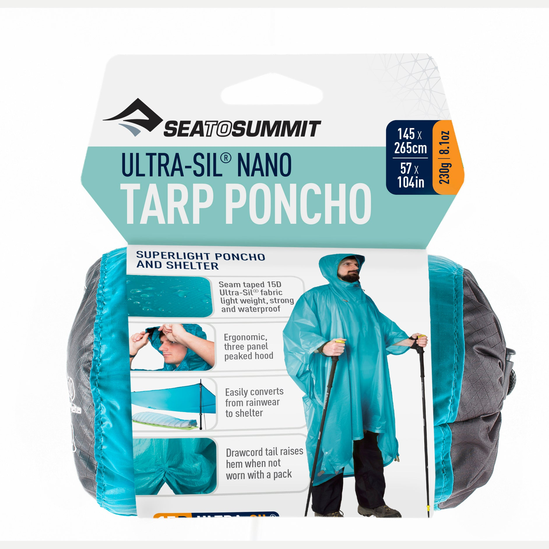Ultra Sil Nano Rain Poncho _ blue _ ultralight backpacking tarp shelter