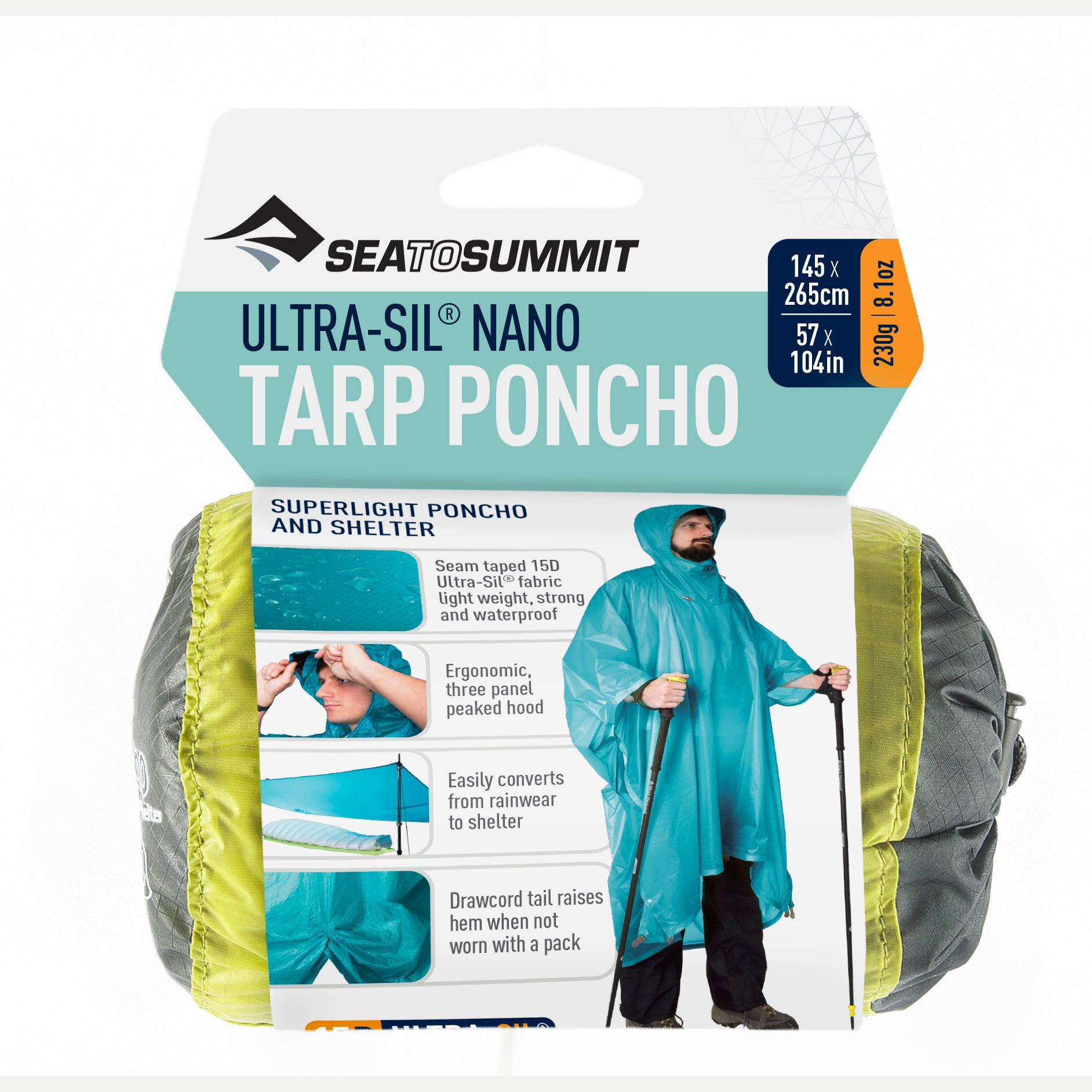 Ultra Sil Nano Rain Poncho _ lime _ ultralight backpacking tarp shelter