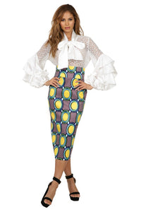Hi Waist Print Pencil Skirt