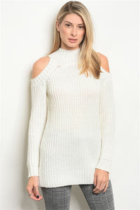 Ivory or Taupe Cold Shoulder Sweater
