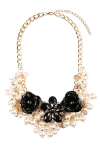 Floral Pearl Statement Necklace