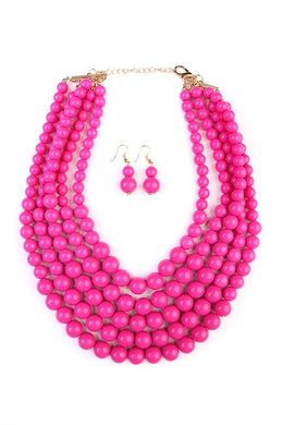 Fuchsia Multi-layer Bead Bib Statement Necklace Set