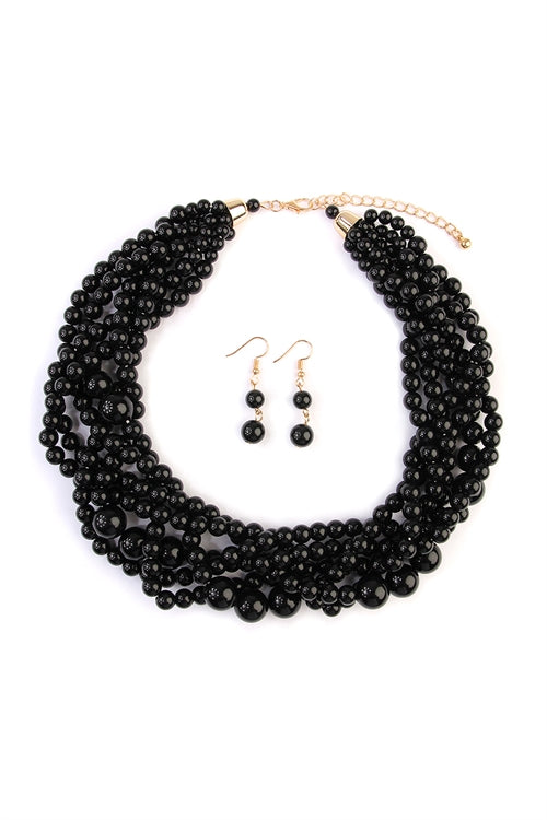 Black Multi Strand Bubble Choker Necklace Set