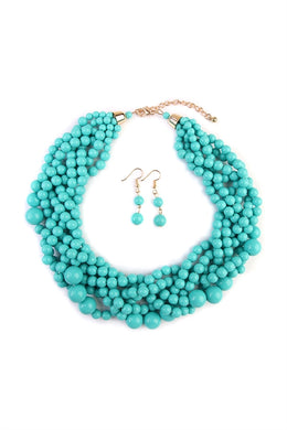 Turquoise Multi Strand Choker Necklace Set