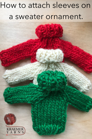 How to attach sleeves on a sweater ornament.