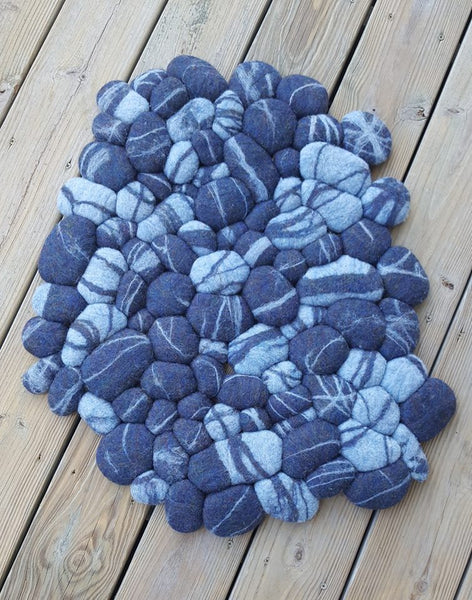 Felted Beach Rocks Rug