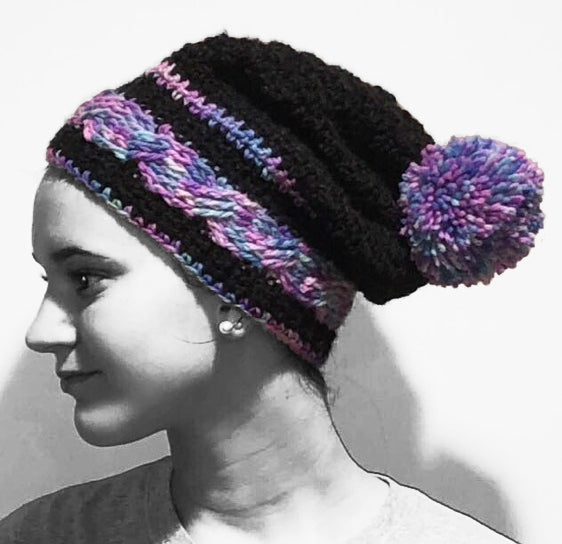 Colored Cable Hat -Designed by Karen McKenna