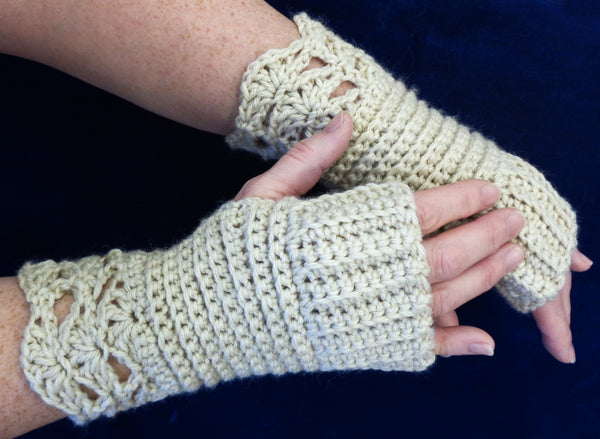 Crochet Ribbed Shell Mitts - Designed by Karen McKenna