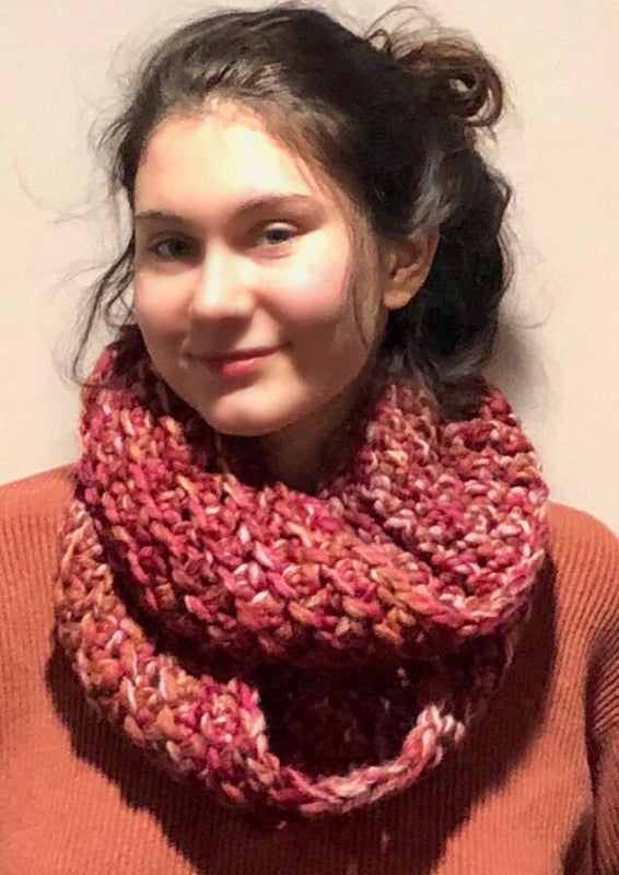 Warm and Lacy Infinity Scarf - Designed by Karen McKenna