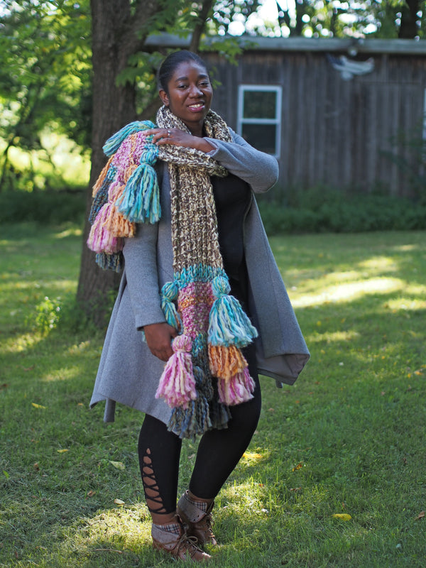 Textures and Tassels Scarf - Designed by Vanessa Ewing