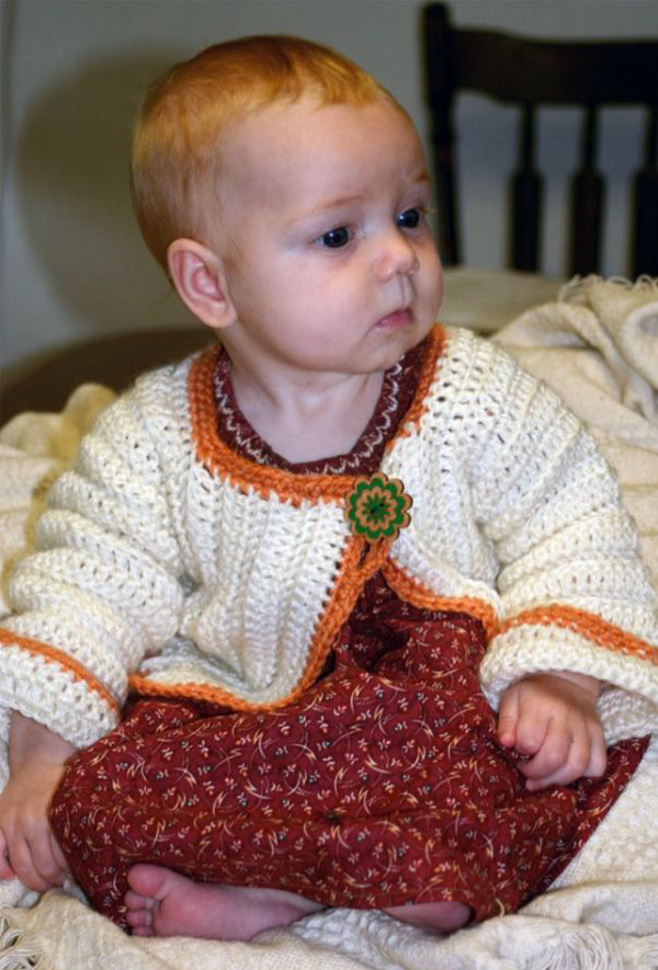 Crochet for Baby Sweater - Designed by Judy Head