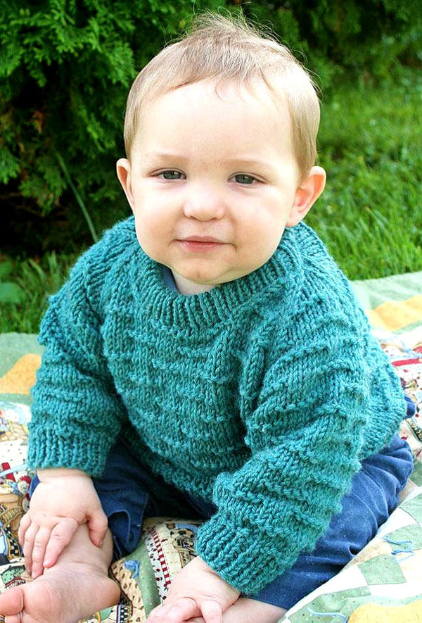 Raglan Baby Sweater  - Designed by Judy Head