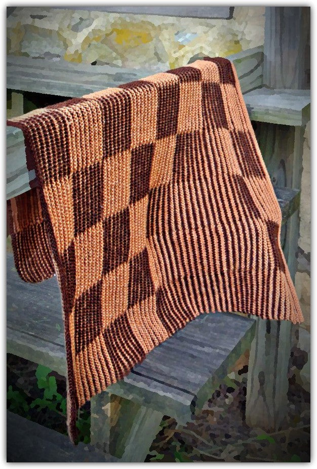 Shadow Knit Checkerboard Blanket  - Designed by Clara Masessa