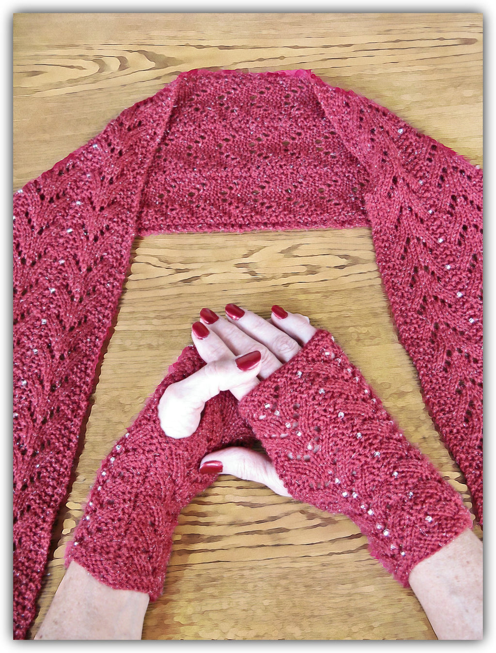 Beaded Lace Scarf & Fingerless Gloves  - Designed by Eleanor Swogger